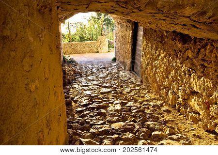 Town Of Vrbnik Historic Stone Steet Passage View