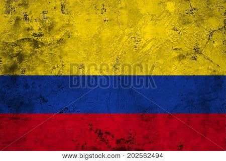 Flag of the Colombia against the background of the stone texture
