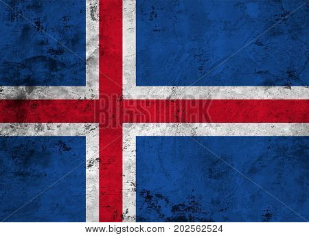 Flag of the Iceland against the background of the stone texture