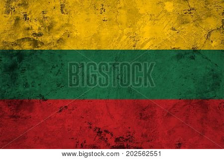 Flag of the Lithuania against the background of the stone texture