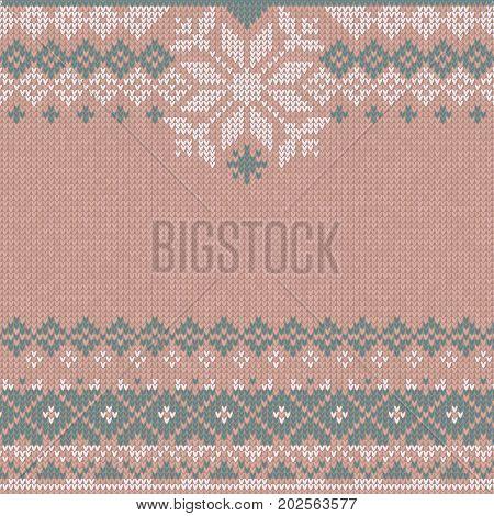 Winter Christmas x-mas knit background, flyer, invitation. Knitted pattern. Winter knitting. Flat style design.
