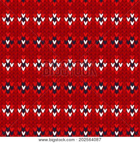 Winter Christmas x-mas knit seamless background. Knitted pattern. Winter knitting. Flat style design.