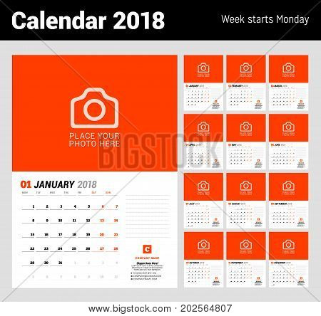 Wall calendar planner template for 2018 year. Vector design print template with place for photo. Week starts on Monday