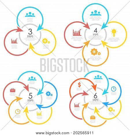 Set outline round infographic element. Circle template 3, 4, 5, 6 steps with arrows.