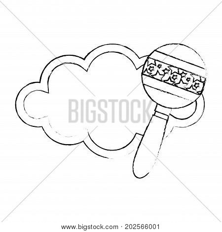 baby shower card with rattle icon over white background vector illustration