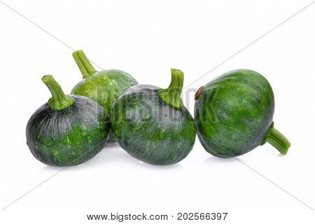 young green pumpkin isolated on white background