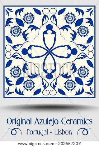 Majolica pottery tile blue and white azulejo original traditional Portuguese and Spain decor vector EPS 10