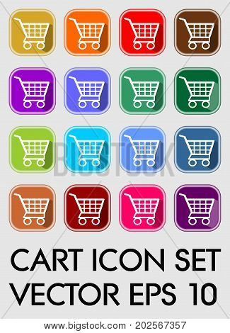 Set of cart icons rounded square in different color variants flat buttons with white cart pictogram vector EPS 10