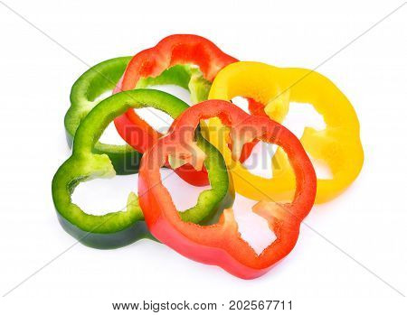 slice of sweet bell pepper or capsicum isolated on white background