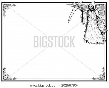 Halloween Frame With Grim Reaper