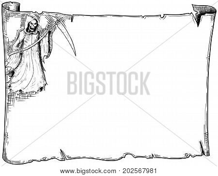 Halloween Frame Old Scroll Sheet With Grim Reaper