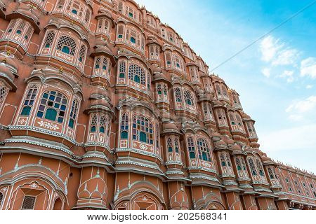 JAIPUR RAJASTHAN INDIA - MARCH 10 2016: Wide angle picture of Hawa Mahal in Jaipur known as pink city of Rajasthan in India.