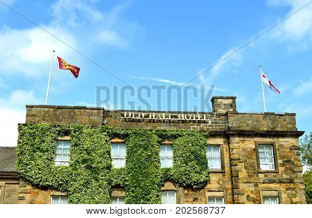 Buxton Derbyshire England UK Europe - August 28 2017 : Buxton Old Hall Hotel the oldest hotel in England