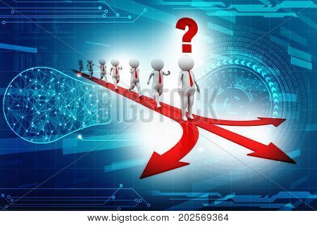 white 3d people on crossroads of different way direction arrows. right choice business concept 3d render illustration