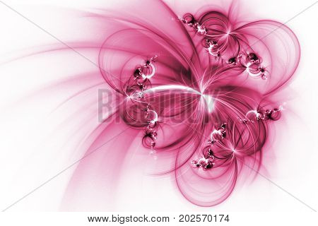 Abstract Fantastic Crimson Flowers On White Background. Fantasy Fractal Texture. 3D Rendering.