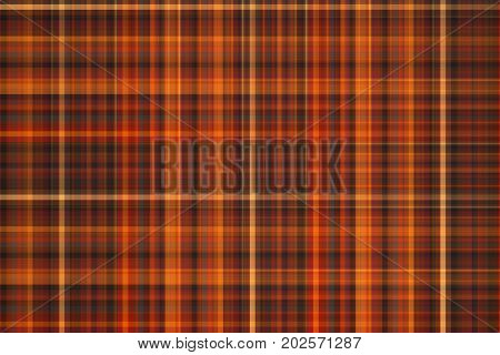 Abstract Orange, Brown And Grey Plaid Texture. Geometric Fractal Background. Digital Graphics. 3D Re