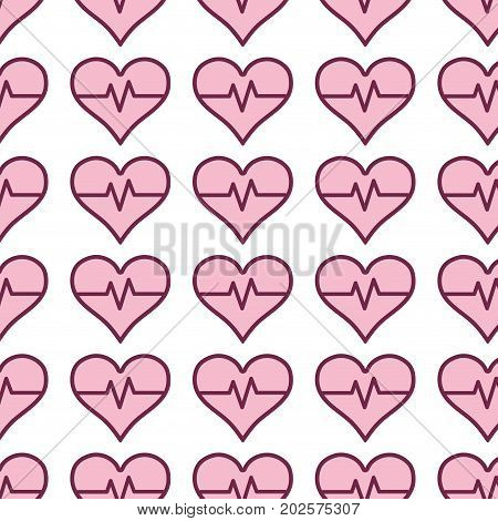 heartbeat vital sign to ekg frequency background vector illustration