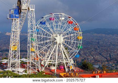 Barcelona Spain - July 12 2017: The famous amusement park on Mount Tibidabo. Barcelona. Spain Catalonia