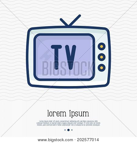 Old-fashioned TV thin line icon. Vector illustration of home appliance.