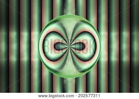 Abstract Green And Orange Lines On Black Background. Fantasy Symmetrical Fractal Texture. 3D Renderi