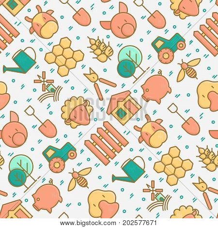 Organic farming seamless pattern with thin line icons of animals, tools and symbols for eco products, farming flyers and banners. Agriculture vector illustration for web page, print media.
