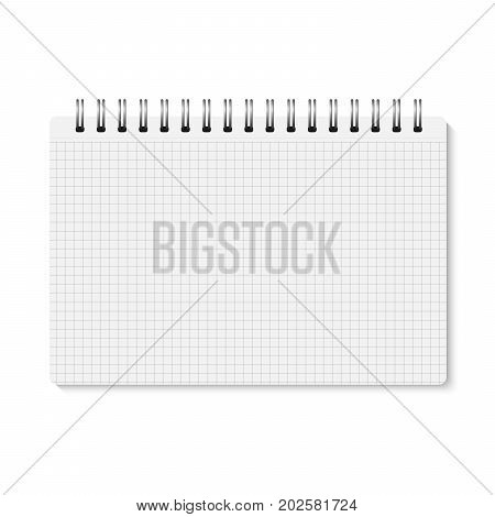 Vector realistic closed spiral bound notebook. Horizontal blank copybook with metallic silver spiral. Template (mock up) of organizer or diary isolated. Horizontal cell lined notepad. A5
