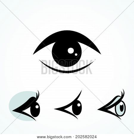 Set of Eye Icons Isolated on White Background. Ophthalmologist s or Elements Collection