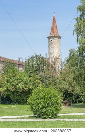 city wall with tower in Rothenburg ob der Tauber a town in Middle Franconia in Bavaria Germany