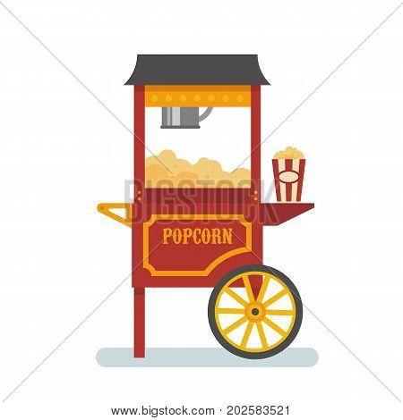 Rod popcorn machine flat isolated vector illustration