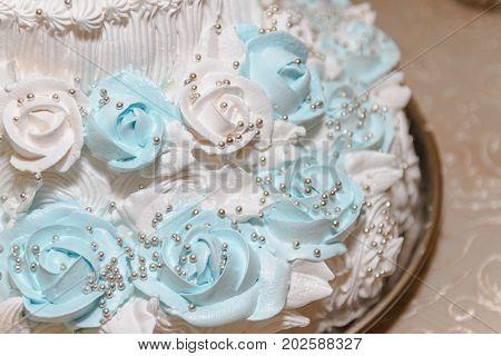 Wedding cake, cake for a wedding closeup