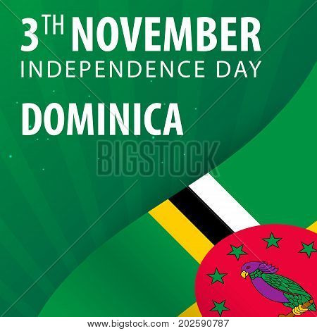 Independence Day Of Dominica. Flag And Patriotic Banner.