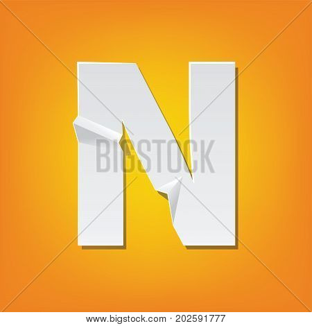 N Capital Letter Fold English Alphabet New Design