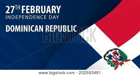 Independence Day Of Dominican Republic. Flag And Patriotic Banner.