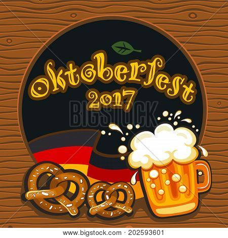 Oktoberfest celebration vector poster with lettering. German festival mug of beer Bavarian flag salty pretzels traditional snacks and drinks. Round festive Banners Headers frames and menu offers