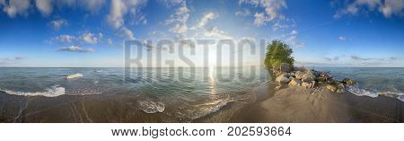Panoramic view of Point Pelee National Park beach in the summer at sunset time, southwestern Ontario, Canada