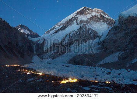 Nightly panoramic view of Mount Everest base camp Everest area Khumbu glacier Sagarmatha national park Nepal