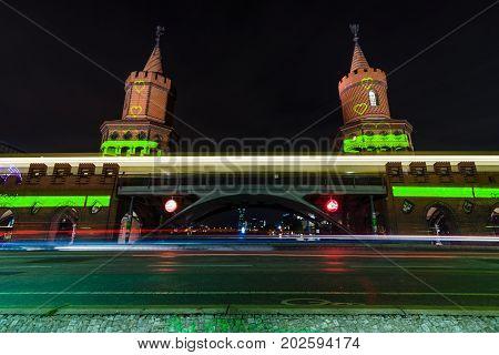 BERLIN GERMANY - OCTOBER 12 2015: Bridge Oberbaumbruecke. Festival of Lights 2015.