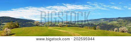 springtime view from Carpathian Mountains with beautiful sky - Javorniky - Slovakia