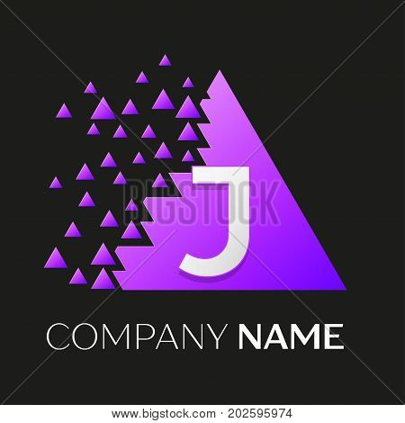 Realistic letter J vector logo symbol in the colorful triangle with shattered blocks on black background. Vector template for your design