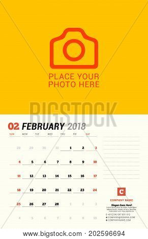 February 2018. Wall Calendar Planner Template. Vector Design Print Template With Place For Photo. We