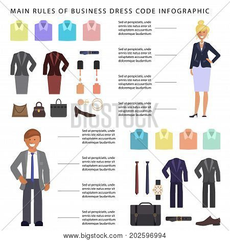 Business dress code infographic. People in formal clothes and shoes. Official suits for Man and woman isolated on white background. Vector illustration eps 10