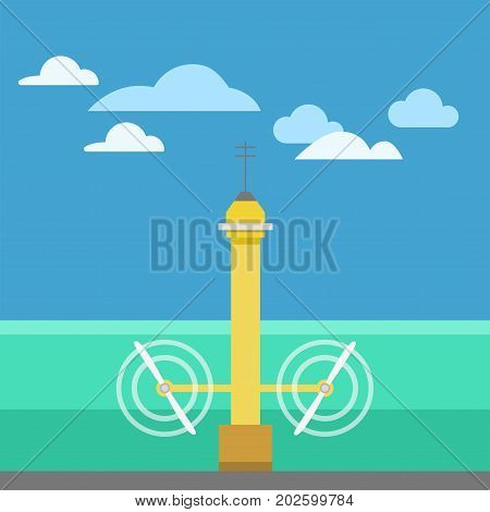 Power alternative energy and eco turbine rotate on current strength technology. Renewable nature environmental industry. Source electricity conservation vector illustration.