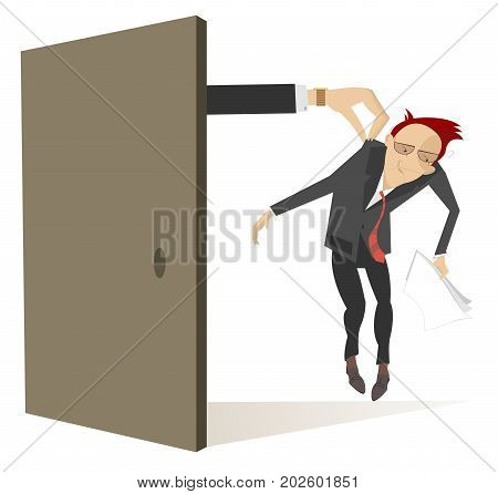 Hand appears from the door and takes a sad man by the collar. Hand takes a sad man by the collar and moves him out from the open door