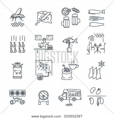 set of thin line icons food and beverages meal drinks