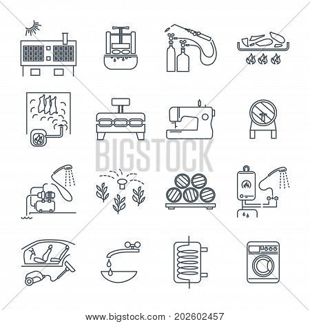 set of thin line icons household appliances equipment technology