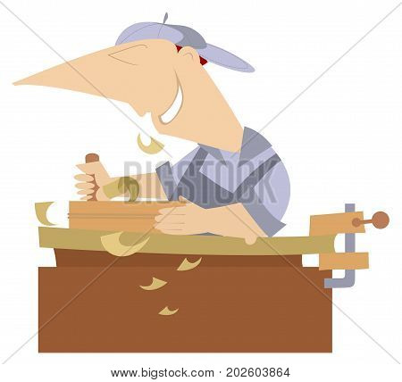 Cartoon young joiner isolated. Cheerful carpenter works at joinery shop