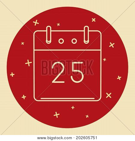 Christmas calendar icon in thin line style. Holiday date - 25th of December. Modern calendar icon in round frame.