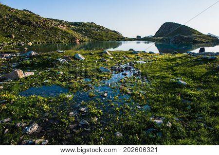 Alpine lake among the rocks, Arhyz, Russian Federation