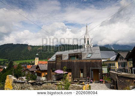 Roman Catholic And Evangelic Church In Schladming City Center, Austria