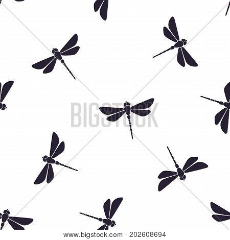 Seamless vector illustration. Pattern with silhouettes of flying dragonfly with a straight body on white background